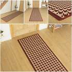 Houndstooth Red - Flatweave Sisal Style Hallway Carpet Runner Rug Mat Long Hall