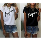 1 Pc Stylish Summer Women Letter Print Top Tee Short Sleeved Casual T-Shirt