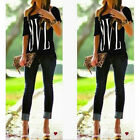 Fashion Summer Letter Print Off Shoulder Short Sleeved Tank Top Tee T-shirt