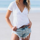 Women Short Sleeved White Asymmetric Hem Loose Casual Tank Top Tee T-shirt