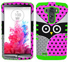 Protector Phone Cover for LG G3 Hybrid Dual Layer Case Cute Owl Pink Black Green