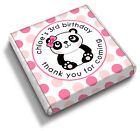 Personalised PANDA Pink Spot 7th 8th 9th 10th Birthday Party Favour Chocolates