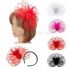 Lady Girl Large Sinamay Fascinator Hat Feather Cocktail Party Church Wedding