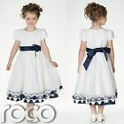 Ivory Flower Girl Dress, Ivory And Navy Dress, Girls Dresses, Flower Girls