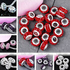 5x Womens Enamel 2-row Crystal 4mm Hole European Bead Fit Charm Bracelet DIY Hot