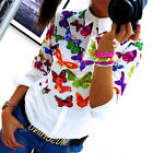Women's Floral Printed Blouse Chiffon Long Sleeve Ladies Top T shirt Loose Tops