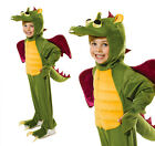 Childrens Green Dragon Fancy Dress Costume Monster Halloween Outfit 5-10 Yrs