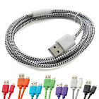 1/2/3M Braided Fabric Micro USB Data & Sync Charger Cable Cord For Mobile Phones
