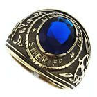 Sheriff Department Blue Stone Gold EP 316SS Mens Ring
