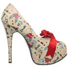 "PINUP COUTURE TEEZE-12-3 5 3/4"" Stiletto Heel Hidden Platform Pump Satin Bow Tie"