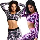 Women Long Sleeve Crop Top Camo Gym Fitness Sports Workout Yoga Casual Top S7H1