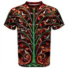 Perindens T-Shirt All Over India print XS-3X Allegory Dragons Flowers Dove Tree