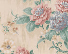 Faux Painted Roses Daisies Blooms Gold Stripes Double Roll Wallpaper Wall Cover