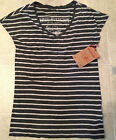 TRUE RELIGION T Shirt EURO STRIPED TEE CHARCOAL NEW