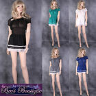 New Ladies Sheer Blouse Dress Top Size 10 12 14 16 Lace Trim Diff Colours BNWT