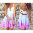 2016 New Women Summer Casual Maxi Party Evening Mini Skirt Beach Floral Dress