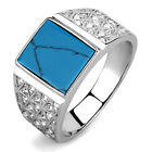 Turquoise Stone Silver Stainless Steel Crystal Pave Mens Ring