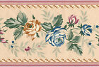 Cabbage Rose Sheen Satin Floral Pink Blue Golden Blooming Wallpaper Wall Border