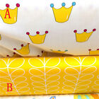 50x160cm Cotton Twill Fabric DIY Bedding Sheet Quilt Covering Yellow Crown 7040B