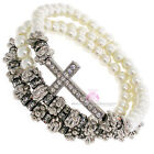 Ornate Elegant Believer's Cross Three Strand Wrap Bead Beaded Stretch Bracelet
