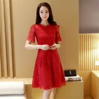 Young Girl Women Lace Dress Elegant Lady Party Dinner A-line Midi Skirt G