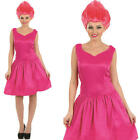 Ladies Pink Neon Pixie Fairy Fancy Dress Costume & Wig Elf Adult Womens UK 8-22