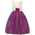 Mia Juliana Little Girls Wine Ivory Polka Dot Flower Christmas Dress 4-6X