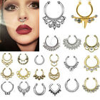 New Fake Septum Clicker Nose Ring Rhinestone Non Piercing Hanger Clip On Jewelry