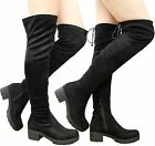 Ladies Womens Over The Knee Thigh High Long Lace Up Chunky Heel Boots Shoes Size