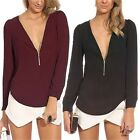1x Zipper V-neck Womens Chiffon Tops Long Sleeve Shirt Casual Blouse T-shirts #S