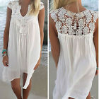 1Pc Women Hollow Sleeveless Stitching Skirt Openwork Crochet Lace Beach Dress