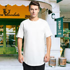 Mens BASIC HIPSTER Long T-Shirt Hip Hop Hemline Casual Elongated Extended Tee