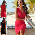 Womens Summer Sexy V Neck Drawstring Shoulder Bodycon Casual Mini Dress Hot