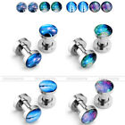 4Pair Colorful Milky Way Starry Sky Forest Trail Steel Tunnel Ear Plug Stretcher