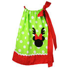 Little Girls Green White Polka Dot Minnie Mouse Pillow Case Dress 1-5Y