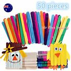 50PC Kids Wooden Pop Stick Craft Paddle ice cream Natural or Multi-color 11.5x1