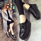 Hot Retro Womens LACE-UP Patent Leather Wedge Hidden Heel High Platform Shoes