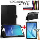 Folio PU Stand Case+Tempered Glass Screen Protector for Samsung Galaxy Tab E 8.0