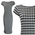 NEW BLACK WHITE DOGTOOTH CHECK PRINT CAP SLEEVE MIDI  DRESS SIZE 8-22