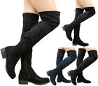 Ladies Women Over The Knee Thigh High Flat Low Mid Block Heel Stretch Boots Size