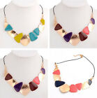 Bohemia Metal Geometry Multicolor Black Cord Collar Choker Statement Necklace