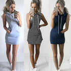 Women Boho Summer Hooded Bodycon Sleeveless Sexy Party Cocktail Mini Dress TBU