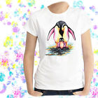 Ladies T-shirt Penguins Watercolor Bird Art Sizes XS-2X