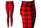 NEW RED AND BLACK TARTAN PRINT LEGGINGS SIZE SM - XXL