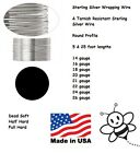 ROUND USA Sterling Silver Wire Dead Soft Half Full Hard 14 16 18 20 21 22 24 26