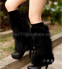 100 Real Racoon fur leg warmer boots shoes cover boot women lady fashion winter