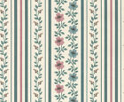 Romantic Victorian Tiny Flowers Vines Pin Stripes Striped Double Rolls Wallpaper