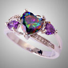 sell cartier ring - Best Selling Rainbow & White Topaz Amethyst Gemstone Silver Ring Sz 6 7 8 9 10