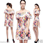 Fashion Women Sweet Chiffon Printing Floral Dress Boat Neck Off Shoulder Dress