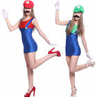 Ladies Super Mario Luigi Bro Plumber Hen Party Cosplay Fancy Dress Moustache Hat